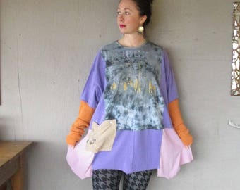 upcycled clothing Wearable art tunic top caftan oversize one size recycled patchwork reclaimed fall fashion Loose top by LillieNoraDryGoods