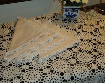 Vintage,  NAPKINS Ecru Crochet Lace Border 18 X 18 inch set of 4 Brand  New, Old Store Stock
