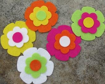 10 Wool Blend Felt Die Cut Applique Flowers - Island Lily