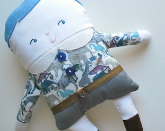 Blue Hair Two-Faced Friend Flip Boy Doll Dressed in Liberty Of London Fabrics - - Stuffed Toy - Boy Dolly - Double-Sided