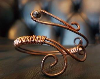 Adjustable copper bracelet with patina