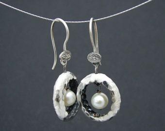 white nest earrings