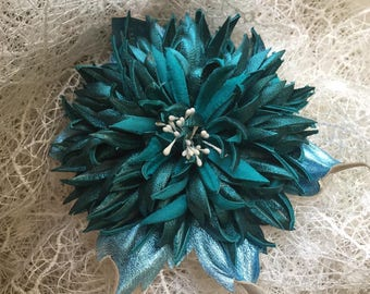 Turquoise Chrysanthemum Flower Leather Brooch.
