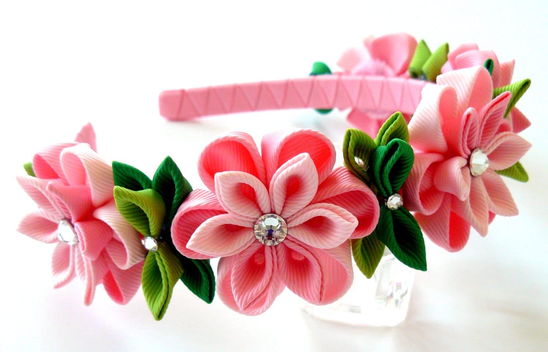 Kanzashi fabric flower headband pink flower crown headband zoom mightylinksfo