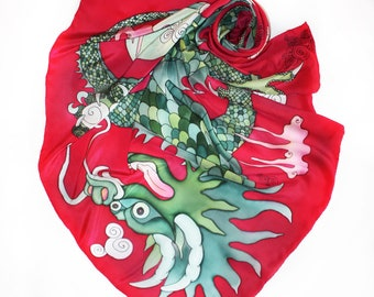 Dragon scarf Chinese silk scarf Red green shawl Fantasy art to wear Hand paint scarf Mythical creature women shawl Art gift for dragon lover