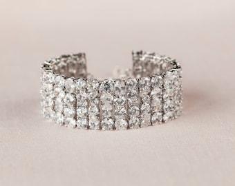 Crystal Bridal Bracelet, Crystal Wedding Bracelet, Rhinestone Bracelet, Statement Bracelet,Crystal Ice Bracelet