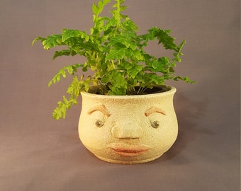 Handmade Pot Planter with Face, Pottery Planter, Face Pot.