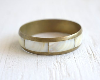Bangle Bracelet Mother of Pearl and Brass Jewelry