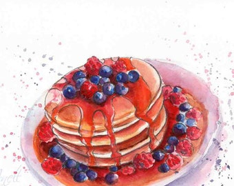 Pancakes watercolor Print - Watercolor Painting - Wall Decor - Poster Giclee wall print - Home Wall decor - Baby nursery print - Kids room