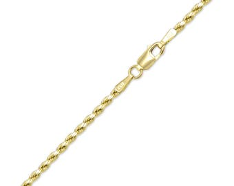 "10K Yellow Gold Hollow Diamond Cut Rope Bracelet 2.5mm 7-8"" - Chain Link"