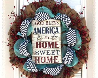 Home Sweet Home Wreath- Fourth of July Wreath- Red and Blue Burlap Wreath- 4th of July Wreath- Patriotic burlap wreath- Welcome Sign