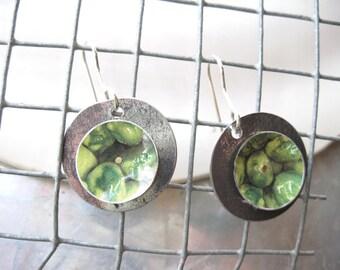 Tin Earrings, Wasabi Pea Can, Green Tin Earrings, Lightweight