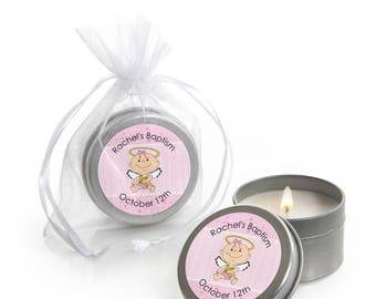 Angel Baby - Girl Candle Tin Favors - Baptism and Baby Shower Party Supplies  - 12 Ct.
