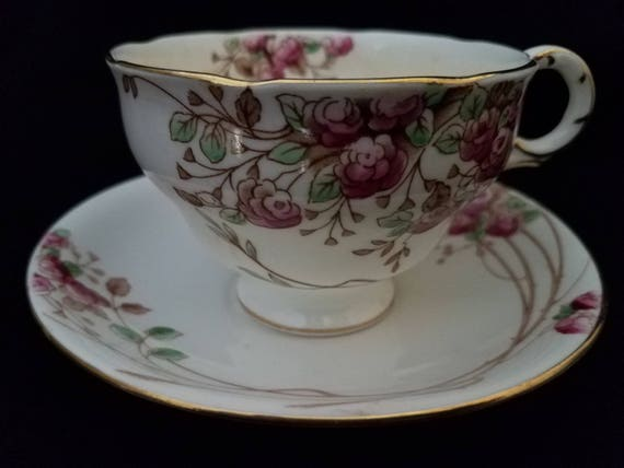 Adderley/England/Cup and Saucer/Floral/Add88/1950s