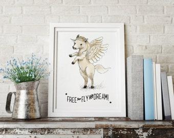Pegasus print, Boys room decor, boys wall decor, boys room wall art, art for boys room, kids room decor, inspirational quote