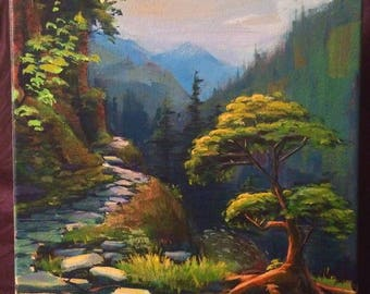 11x14 original acrylic painting of mountain trail
