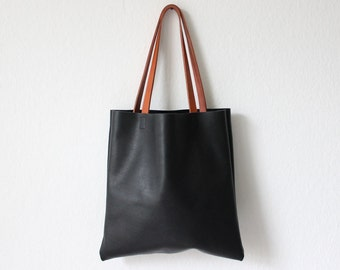 black leather shopper, leather tote bag, everyday bag, leather shoulder bag, leather tote
