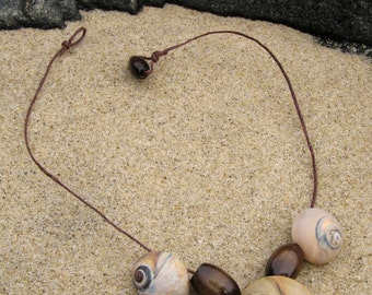 Snailshell Statement Necklace in Walnut