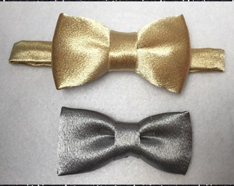 Gold Bow tie. Silver Bow tie. Satin Silver bow tie. Satin silver bow tie.