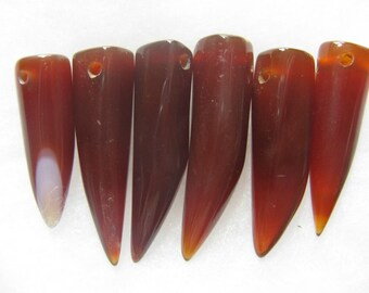 Agate Gemstone Talon Horn Claw Tooth Beads 6 Jewelry Beads 29mm - 40mm R48