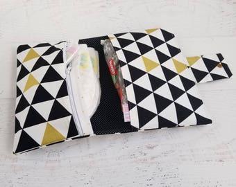 Monochrome Baby Changing Bag | Gender Neutral Diaper Bag | Black and White Diaper Bag | Diaper Clutch Bag | Diaper Clutch Triangle
