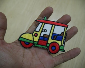 Tuk Tuk Tuktuk Sam Lor thai Size Approx : 6 x 8 cm Embroidered Iron on Patch or Sew