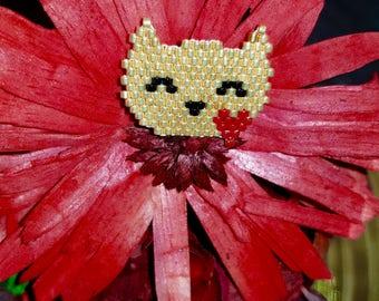 Miyuki cat brooch handmade