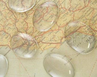 "50 Glass Cabochons 30x40mm - Clear Oval Magnifying Dome Cabs - For Cameo Pendants, Photo Jewelry, Rings Necklaces - 1 3/16"" x 1 9/16"" inch"