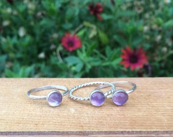 Amethyst Stacking Ring / Amethyst Stack Ring / Sterling Silver Ring / Little Amethyst Stackable Ring / Gemstone Ring / Amethyst Jewellery
