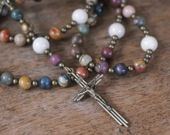 Franciscan Crown Rosary. natural gemstones and brass. Red Creek Jasper & Riverstone. Heirloom Quality (222R)