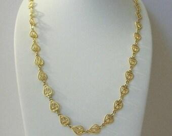 ON SALE Vintage SP Avon Gold Tone Filigree 24 Inch Necklace 10416
