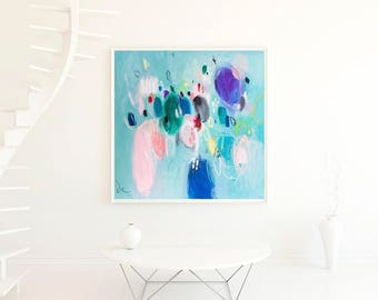 Abstract art, floral painting print, light blue art, nursery wall decor, abstract giclee print, floral abstract art, VictoriAtelier