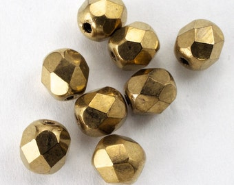 6mm Bronze Fire Polished Bead (25 Pcs)  #GBD076