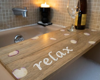 Wood Roses And Book Relax Bath Tray Present For Mothers Day, Christmas,  Birthday ,