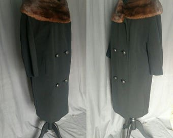 1960s Len Artel Dress Coat - Harris Furs NY Black wool Chestnut Brown Mink collar / 60s Black Wool Cocoon Shape Coat / Medium - Large