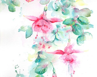Pink Fuchsia - original watercolour painting, Fuchsia Watercolour, Fuchsia Watercolor, Original Art, Gift for Flower lover, Fuchsia Painting