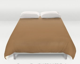 Solid Color COFFEE brown /  Duvet Cover or Comforter / Bedding Minimalist Modern Basic Art / Sizes Twin, XL Twin, Full, Queen, & King