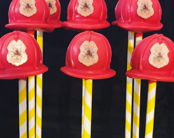 Firefighter Cake Pops