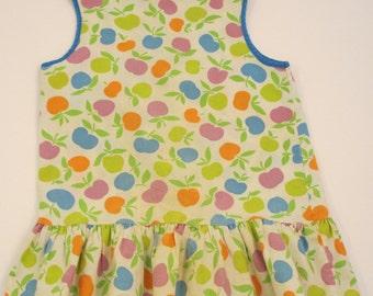 vintage apple dress with ruffle skirt cotton blue purple orange and green vintage little girls  dress vintage kids dress