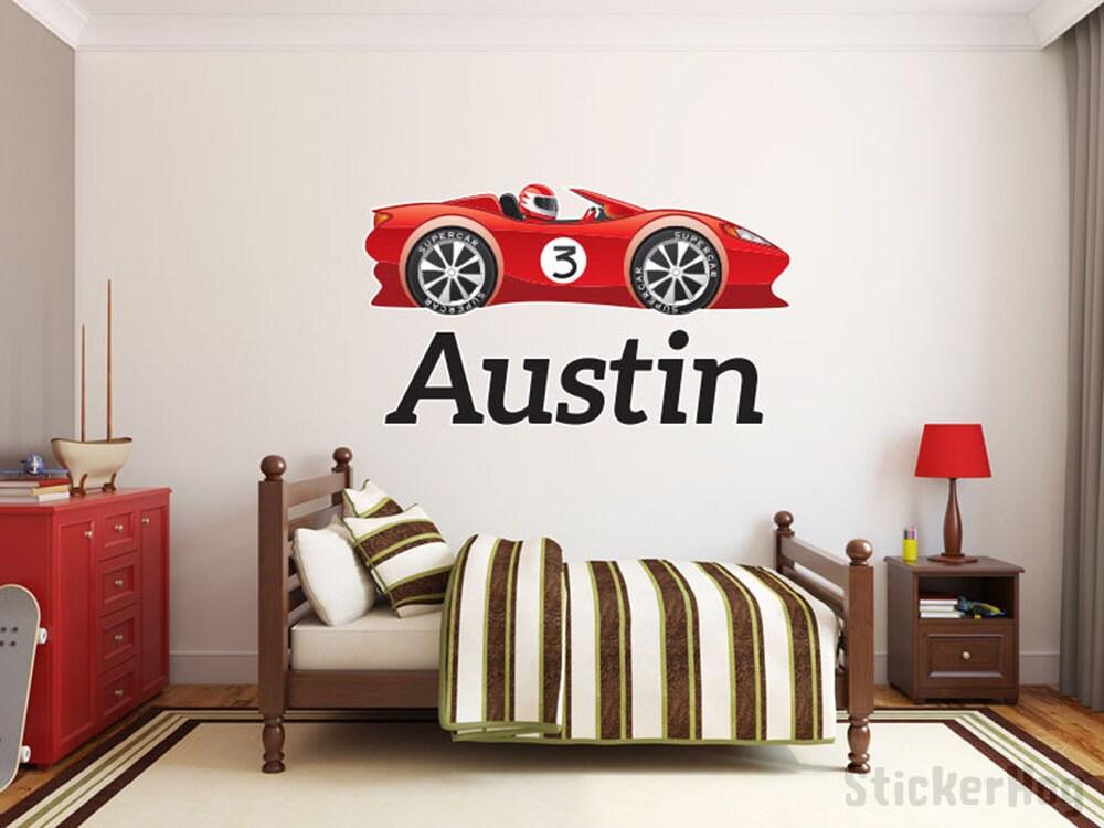 Boys Custom Race Car 3 Name Monogram Decal Nursery Room Vinyl
