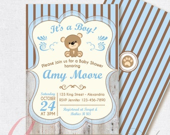 Bear baby shower invitation baby boy invitation boys baby baby shower invitation baby boy bear babyshower invite teddy bear babyshower invitation filmwisefo Choice Image