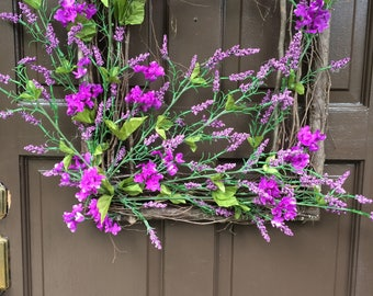 Square grapevine twig wreath, twigs, Mother's day wreath, front door decor, front door wreath grapevine square, purple flower wreath