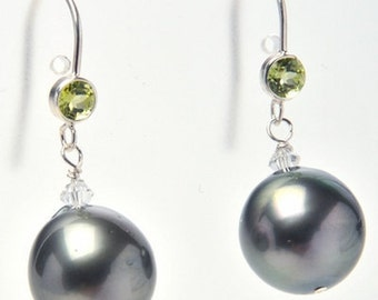 Tahitians with a Twist of Lime - Tahitian Pearl Earrings