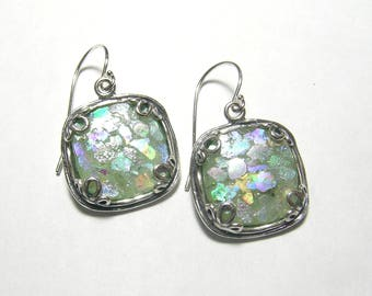 Sterling Silver earrings with Roman Glass, organic texture with leaves and scrolls /  ancient Roman Glass/ Christmas gift