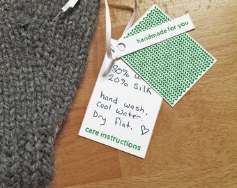 Green Colors, Garment Gift Tags for Hand Knits, Printable