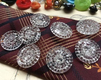 6 vintage glass buttons - honeycomb design (146)