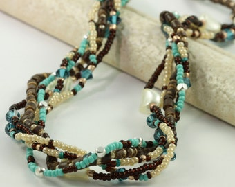 Multi Strand Necklace Shell Necklace Beach Jewelry Brown Necklace Aqua Jewelry Beadwork Necklace Cream Teal Beaded Necklace Coconut Jewelry