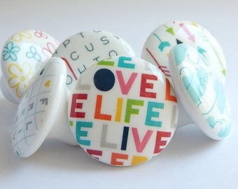 Live Life Love Knobs, Love Drawer Knobs, Flowers, Clouds, Word search, Knobs, Colorful Drawer Pulls, Arrow Knobs -1 1/2 Inches-made to order