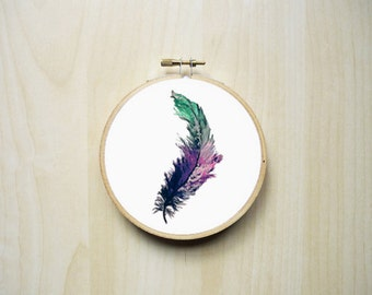 Watercolour Feather Modern Counted Cross Stitch Pattern | Instant PDF Download