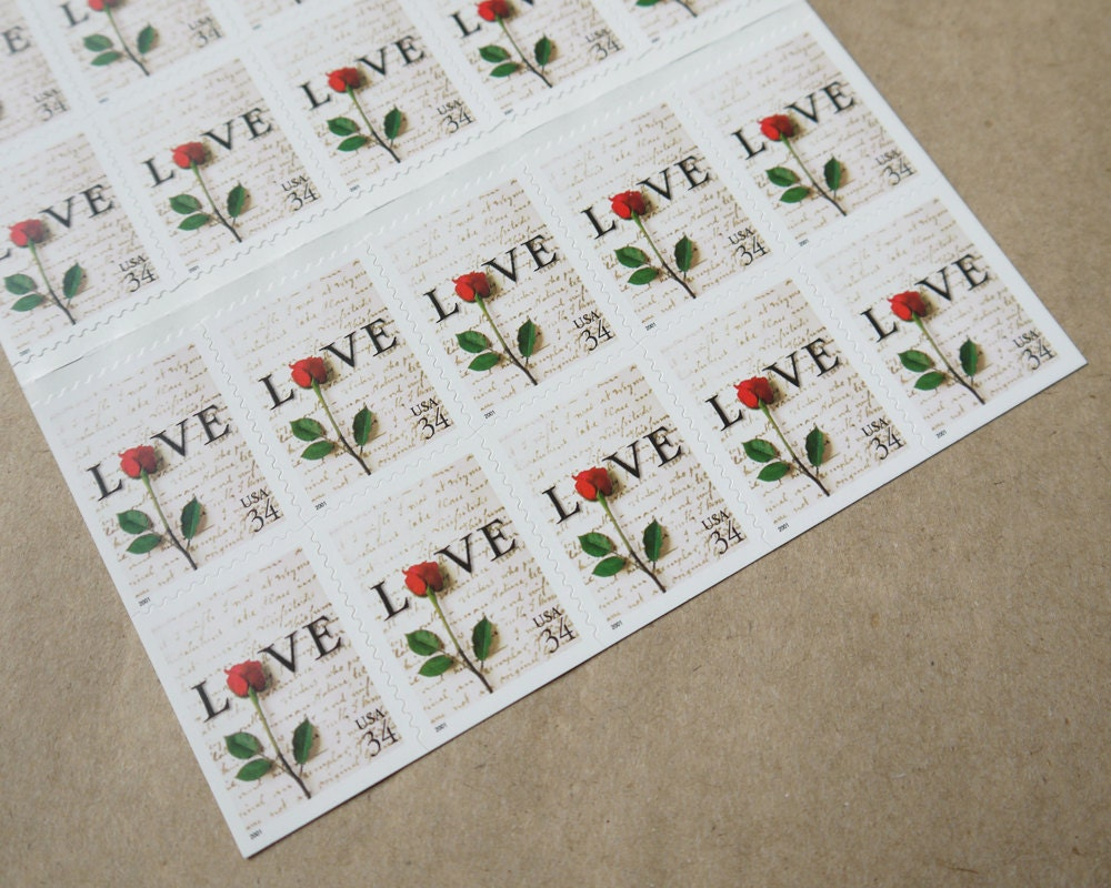 20 pieces - Vintage unused 2001 34 cent Love Letter - Single Rose ...